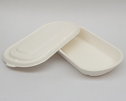 500 ml White Bagasse Tray With Lid