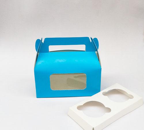 2 Pcs Blue Cup Cake Box