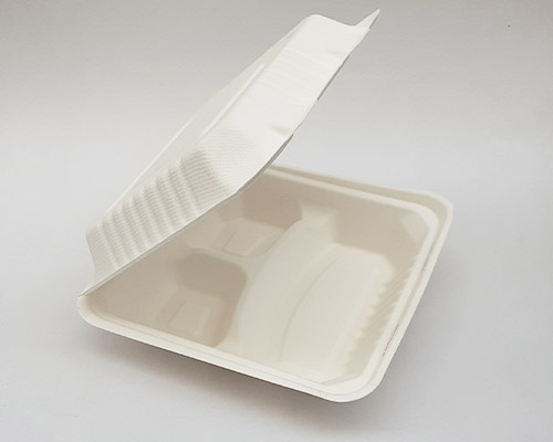 3 Portion Clamshell Bagasse Takeaway Box